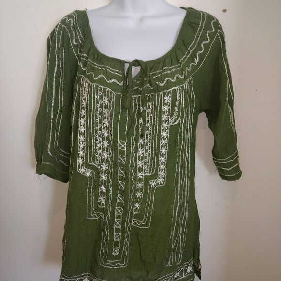 Le Chateau Green Blouse Top Size Medium